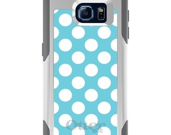 OtterBox Commuter for Galaxy S4 / S5 / S6 / S7 / S8 / S8+ / Note 4 5 8 - CUSTOM Monogram - Any Colors - White & Blue Polka Dots