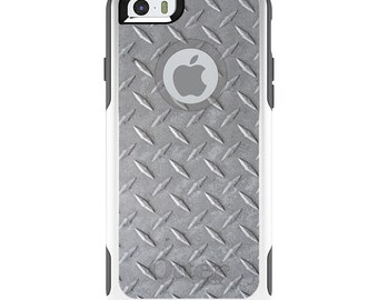 OtterBox Commuter for Apple iPhone 5S SE 5C 6 6S 7 8 PLUS X 10 - Custom Monogram - Any Colors - Grey Diamond Plate Steel