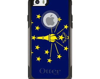OtterBox Commuter for Apple iPhone 5S SE 5C 6 6S 7 8 PLUS X 10 - Custom Monogram - Any Colors - Indiana State Flag