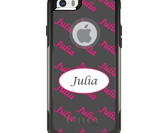 OtterBox Commuter for Apple iPhone 5S SE 5C 6 6S 7 8 PLUS X 10 - Custom Monogram or Image - Black White Oval Name
