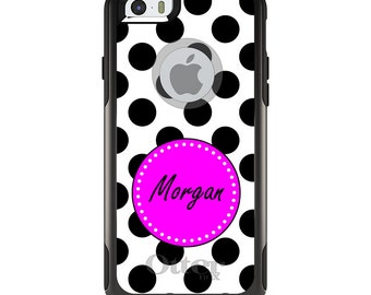 OtterBox Commuter for Apple iPhone 5S SE 5C 6 6S 7 8 PLUS X 10 - Custom Monogram or Image - Black White Pink Polka Dots