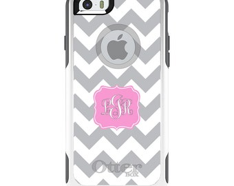 OtterBox Commuter for Apple iPhone 5S SE 5C 6 6S 7 8 PLUS X 10 - Custom Monogram or Image - Grey White Chevron Pink Frame