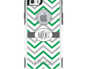 OtterBox Commuter for Apple iPhone 5S SE 5C 6 6S 7 8 PLUS X 10 - Custom Monogram or Image - Green White Grey Chevron Stripes
