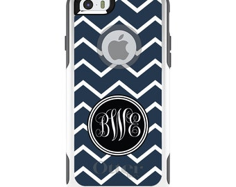 OtterBox Commuter for Apple iPhone 5S SE 5C 6 6S 7 8 PLUS X 10 - Custom Monogram or Image - Navy Blue White Chevron Initials