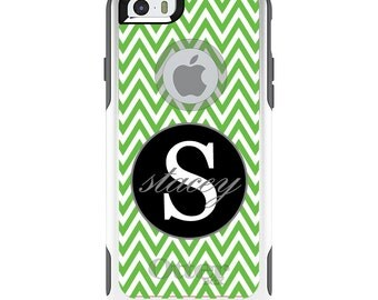 OtterBox Commuter for Apple iPhone 5S SE 5C 6 6S 7 8 PLUS X 10 - Custom Monogram or Image - Green White Chevron Gray