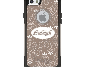 OtterBox Commuter for Apple iPhone 5S SE 5C 6 6S 7 8 PLUS X 10 - Custom Monogram or Image - Tan White Floral Name