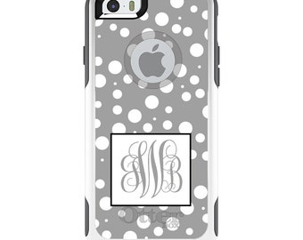 OtterBox Commuter for Apple iPhone 5S SE 5C 6 6S 7 8 PLUS X 10 - Custom Monogram or Image - Silver White Dots Silver Initials