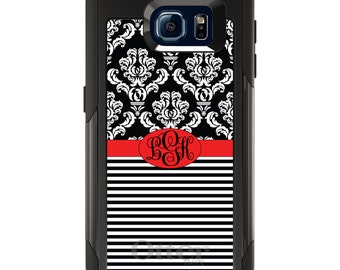 OtterBox Commuter for Galaxy S4 / S5 / S6 / S7 / S8 / S8+ / Note 4 5 8 - CUSTOM Monogram Name Initials - Black White Damask Stripes Ribbon
