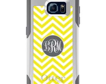 OtterBox Commuter for Galaxy S4 / S5 / S6 / S7 / S8 / S8+ / Note 4 5 8 - CUSTOM Monogram Name Initials - Yellow White Grey Chevron Circle