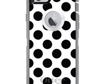 CUSTOM OtterBox Defender Case for Apple iPhone 6 / 6S / 6 PLUS / 6S PLUS - Personalized Monogram - Black & White Polka Dots