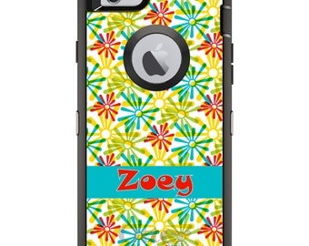 CUSTOM OtterBox Defender Case for Apple iPhone 6 6S 7 8 PLUS X 10 - Personalized Monogram - Red Blue Yellow Green Burst