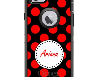 CUSTOM OtterBox Defender Case for Apple iPhone 6 6S 7 8 PLUS X 10 - Personalized Monogram - Red Black White Polka Dots