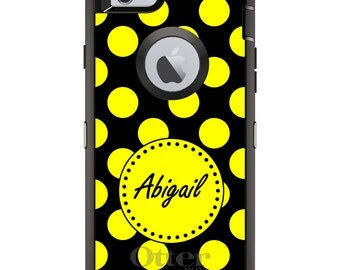 CUSTOM OtterBox Defender Case for Apple iPhone 6 6S 7 8 PLUS X 10 - Personalized Monogram - Yellow Black Polka Dots Name
