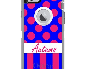CUSTOM OtterBox Defender Case for Apple iPhone 6 6S 7 8 PLUS X 10 - Personalized Monogram - Pink Blue Polka Dots Stripes