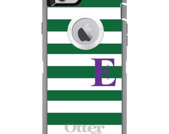 CUSTOM OtterBox Defender Case for Apple iPhone 6 6S 7 8 PLUS X 10 - Personalized Monogram - Green White Stripes Purple