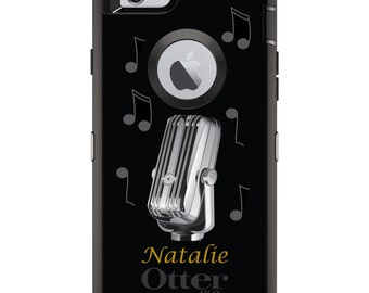 Music OtterBox Defender / Apple iPhone OR Samsung Galaxy / Black Yellow Notes Mic / Custom Personalized Monogrammed / Any Color / Any Font