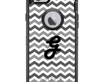 CUSTOM OtterBox Defender Case for Apple iPhone 6 6S 7 8 PLUS X 10 - Personalized Monogram - Grey White Black Chevron