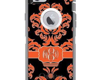 CUSTOM OtterBox Defender Case for Apple iPhone 6 6S 7 8 PLUS X 10 - Personalized Monogram - Orange Black White Damask Ribbon