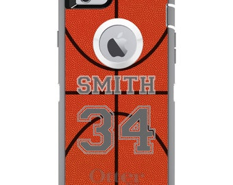 CUSTOM OtterBox Defender Case for Apple iPhone 6 6S 7 8 PLUS X 10 - Personalized Monogram - Basketball Gray Number Name