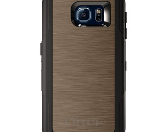 Custom OtterBox Defender for Galaxy S5 S6 S7 S8 S8+ Note 5 8 Any Color / Font - Brown Stainless Steel Print