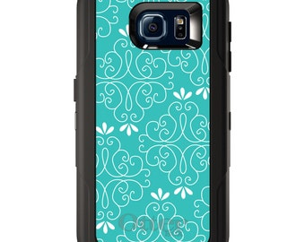 Custom OtterBox Defender for Galaxy S5 S6 S7 S8 S8+ Note 5 8 Any Color / Font - Teal White Floral