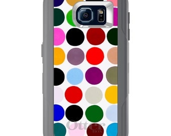 Custom OtterBox Defender for Galaxy S5 S6 S7 S8 S8+ Note 5 8 Any Color / Font - Rainbow Polka Dots