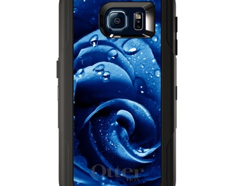 Custom OtterBox Defender for Galaxy S5 S6 S7 S8 S8+ Note 5 8 Any Color / Font - Blue Dew Covered Rose