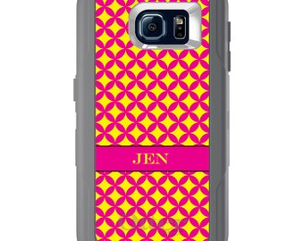 Custom OtterBox Defender for Galaxy S5 S6 S7 S8 S8+ Note 5 - Any Color / Font - Yellow Diamonds Circles