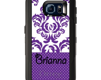 Custom OtterBox Defender for Galaxy S5 S6 S7 S8 S8+ Note 5 8 Any Color / Font - Purple White Damask Dots