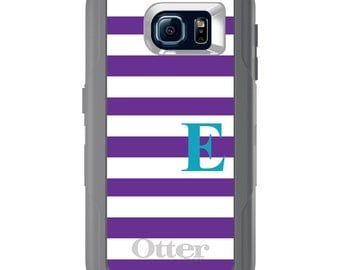Custom OtterBox Defender for Galaxy S5 S6 S7 S8 S8+ Note 5 8 Any Color / Font - Purple White Teal Stripes