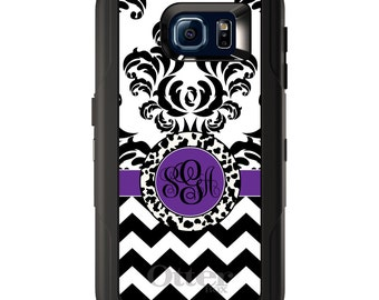 Custom OtterBox Defender for Galaxy S5 S6 S7 S8 S8+ Note 5 8 Any Color / Font - Black White Purple Damask Chevron