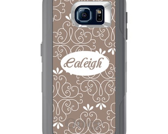Custom OtterBox Defender for Galaxy S5 S6 S7 S8 S8+ Note 5 8 Any Color / Font - Tan White Floral Name