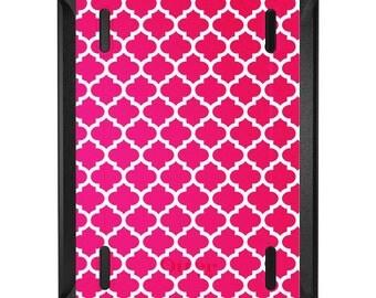 Custom OtterBox Defender for Apple iPad 2 3 4 / Air 1 2 / Mini 1 2 3 4 - CUSTOM Monogram - Pink White Moroccan Lattice