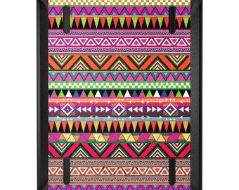 Custom OtterBox Defender for Apple iPad 2 3 4 / Air 1 2 / Mini 1 2 3 4 - CUSTOM Monogram - Pink Blue Orange Tribal Print