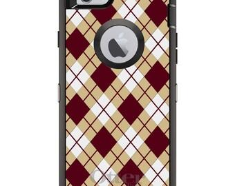Custom OtterBox Defender Case for Apple iPhone 6 6S 7 8 PLUS X 10 - Personalized Monogram - Florida State FSU Seminoles Colors Argyle
