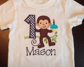 Personalized Monkey Birthday Shirt, Onesie, Romper or Dress