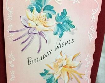 Vintage Die Cut Birthday Greeting Card Embossed Columbine Flowers