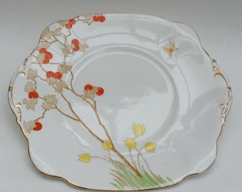 Hand Painted Vintage Cake or Sandwich Plate by Lawley's, England