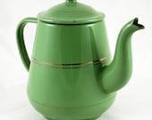 Vintage antique Dutch tea pot green enamel