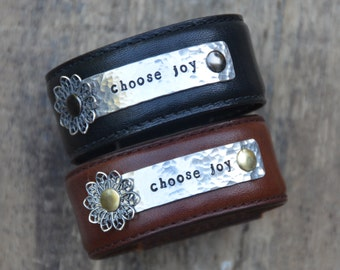 Choose Joy leather cuff bracelet, today i choose joy, Philippians 4:4, Metal stamped, inspirational Bible verse, Love Squared Designs