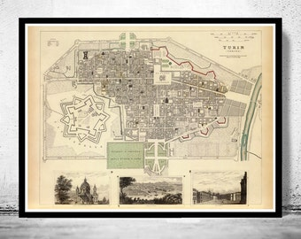 Old Map of Turin Torino 1833 Antique Vintage Italy