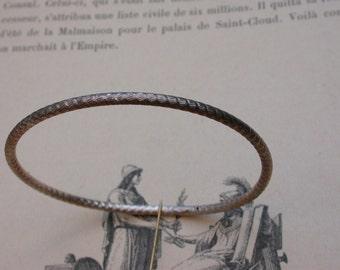 French antique sterling silver engraved snake skin pattern bracelet  stamped bracelet bangle vintage bracelet Signed