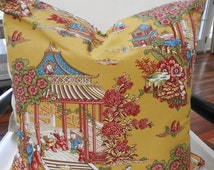 "Paris Apt/French Country Reversible Pillow Cover Pierre Deux ""Les Mandarins"" French Toile de Jouy Mattress Ticking"