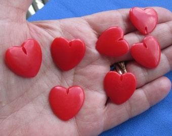 Lot Of Retro Heart Shaped Red Plastic Beads