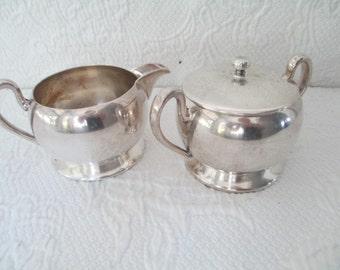 Vintage sugar and creamer Academy silver on copper