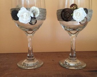 Shabby Chic Twine Wrapped Button & Rose Wine Glasses