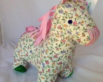 Horse, Quilted Stuffed Animal, Rosetta