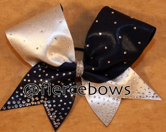 Navy and Silver Pixie Dust Rhinestone Cheer Bow