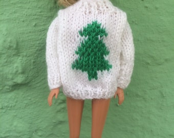 Sindy / Barbie hand knit christmas tree jumper