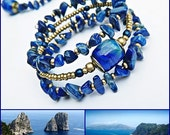 Capri lampwork bracelet, wrap bracelet, lapis lazuli bracelet, blue bracelet, memory wire, elegant, bohemian bracelet, blue gold bracelet,